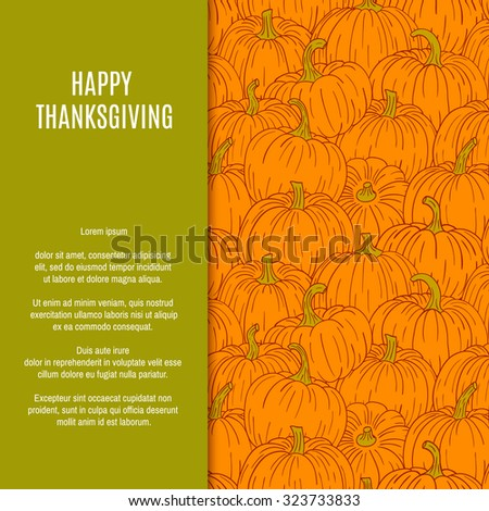 Thanksgiving background card with pumpkin and autumn leaves. - stock vector