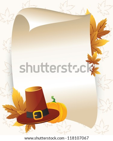 Thanksgiving background with paper - stock vector
