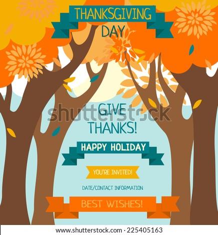 thanksgiving card template, cute invitation, vector illustration - stock vector