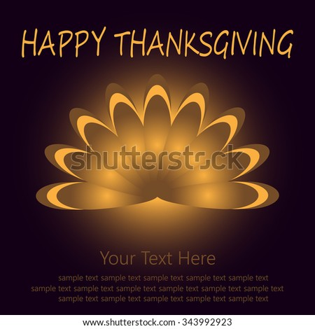 Thanksgiving card with beautiful cartoon of a turkey tail on the black background. Happy Thanksgiving Day celebration on stylish nature background. - stock vector