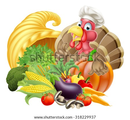 Thanksgiving cartoon turkey bird wearing a chef hat with cornucopia full of produce - stock vector