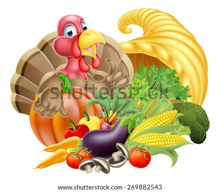 Thanksgiving cartoon turkey bird with cornucopia full of produce - stock vector