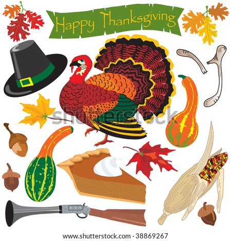 Thanksgiving clipart icons and elements for autumn - stock vector
