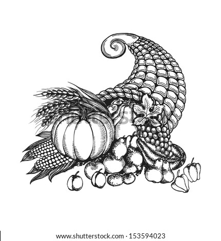 Thanksgiving cornucopia full of harvest fruits and vegetables in a sketch style. Autumn card isolated on white background. Vector illustration. - stock vector