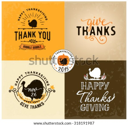 Thanksgiving Day Design Elements Badges and Labels in Vintage Style - stock vector