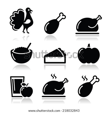 Thanksgiving Day food icons set - turkey, pumpkin pie, cranberry sauce, apple juice - stock vector