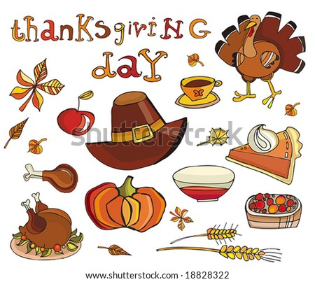Thanksgiving day icon set. To see similar, please VISIT MY GALLERY. - stock vector