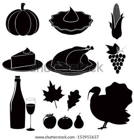 Thanksgiving Day icons. Vector set. - stock vector