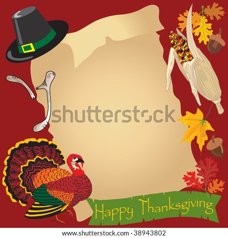 Thanksgiving day menu surrounded by holiday icons - stock vector