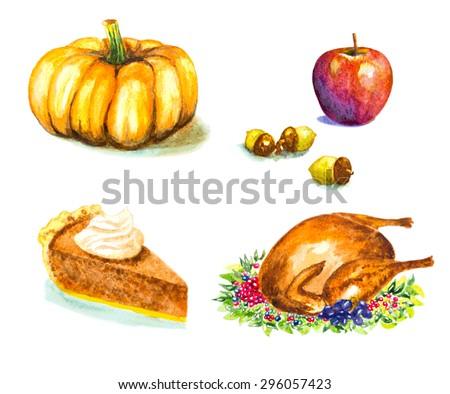 thanksgiving day set with roasted turkey, grape, pumpkin, acorns, apple, pie. watercolor vector illustration - stock vector