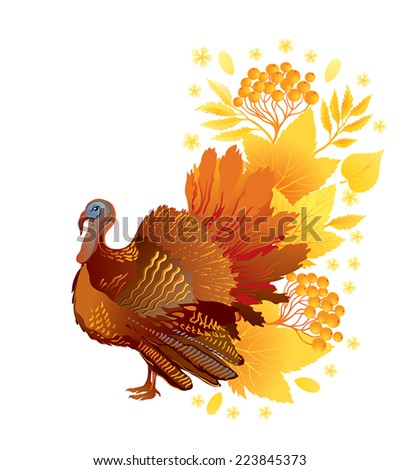 Thanksgiving decorative card with turkey on autumn background  - stock vector