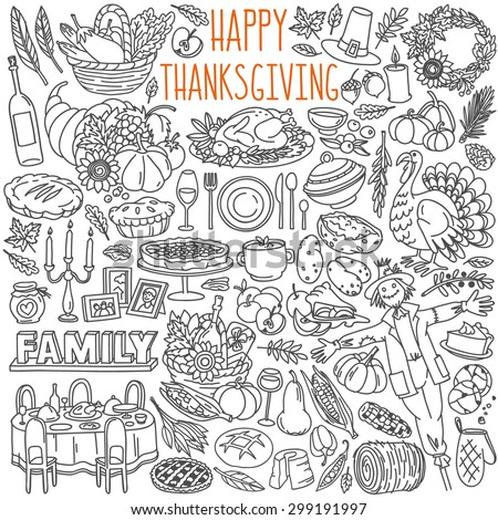 Thanksgiving doodles set. Traditional symbols, food and drinks - turkey, pumpkin pie, corn, wine. Freehand vector drawings collection isolated over white background - stock vector