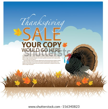 Thanksgiving sale background template. EPS 10 vector, grouped for easy editing. No open shapes or paths. - stock vector