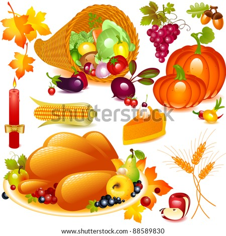 Thanksgiving set. cornucopia with pumpkin and other vegetables, and traditional elements of Thanksgiving. Vector graphics objects isolated on white background - stock vector