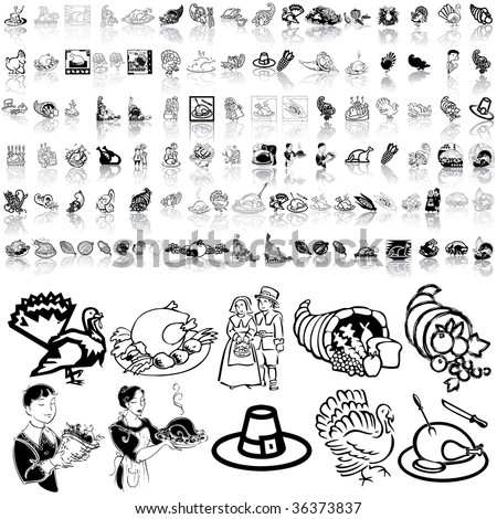 Thanksgiving set of black sketch. Part 2. Isolated groups and layers. - stock vector