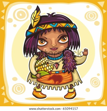 Thanksgiving theme: Cute American Indian girl with corn. - stock vector