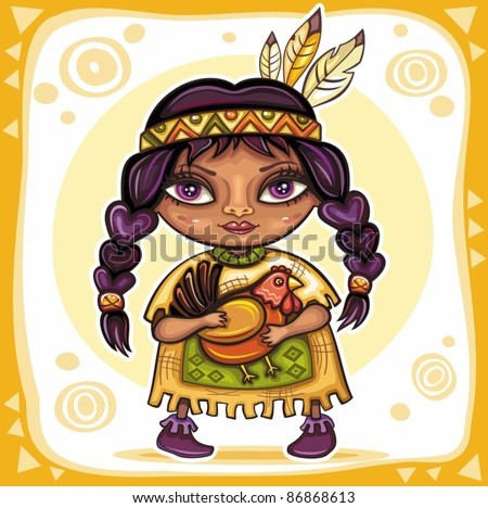 Thanksgiving theme: Cute North American Indian girl with little turkey - stock vector