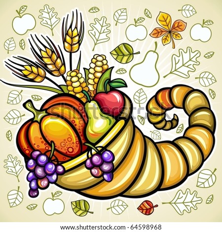 Thanksgiving theme: Harvest cornucopia - stock vector