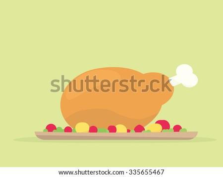 Thanksgiving turkey dinner - stock vector