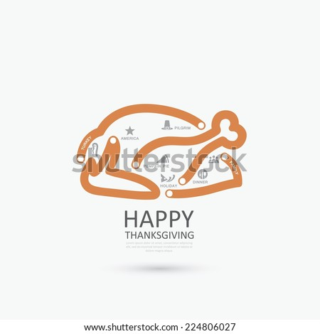 Thanksgiving turkey infographics - vector illustration - stock vector