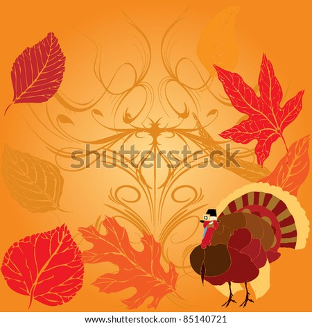 Thanksgiving Turkey over Autumnal background - stock vector