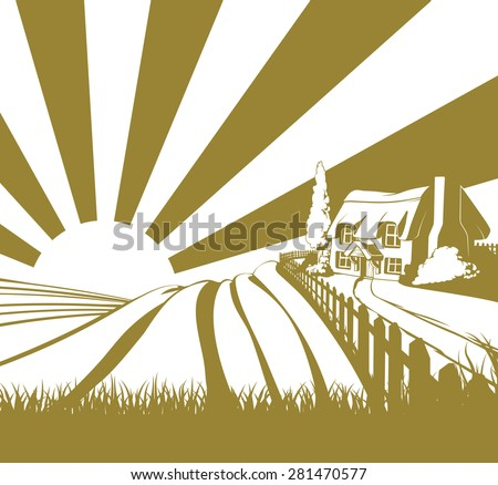 Thatched cottage farm field landscape concept illustration with rolling hills and sunrise - stock vector