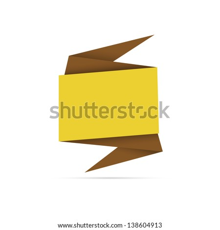 The abstract blank origami style label ready for your text / origami style label - stock vector