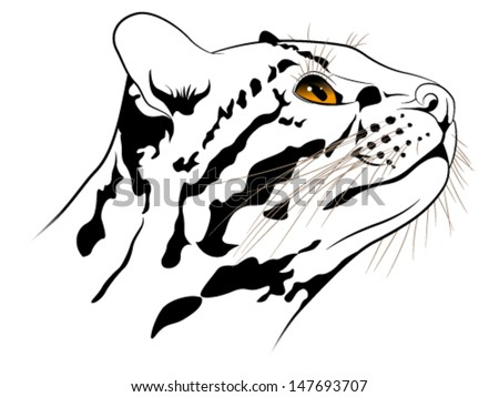 The abstract image of a ocelot executed in the form of a tattoo - stock vector