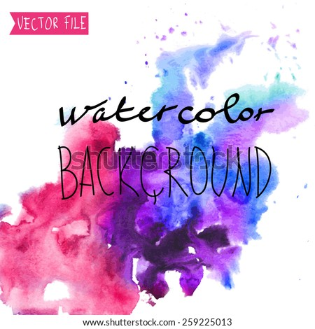 The abstract picturesque vector  background for your text drawn with a water color. - stock vector