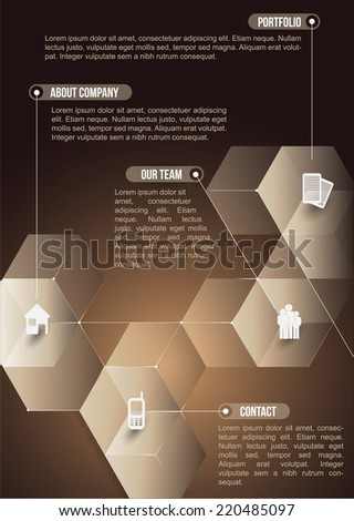 The abstraction cubic informative background with icons for companies - stock vector