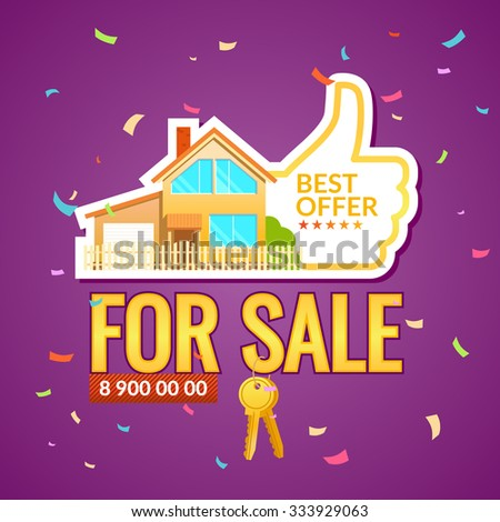 The ad poster. Sale of real estate. Vector illustration. - stock vector