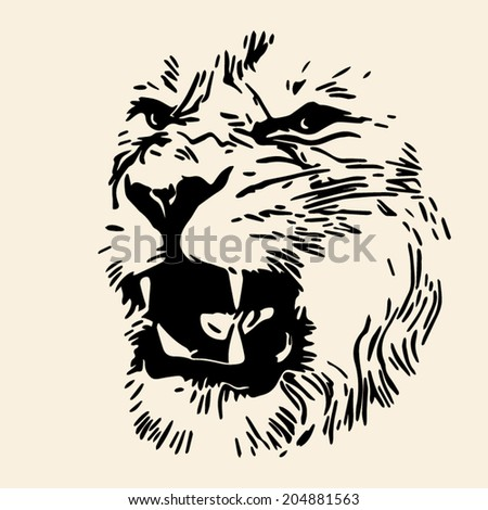 The aggressive face of a lion, isolated on grunge background. King of beasts, the biggest cat, shows his huge fangs. The most dangerous predator with open chaps. Amazing monochrome vector image. - stock vector