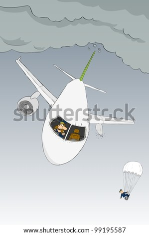 The airplane in the sky tattered propeller - stock vector