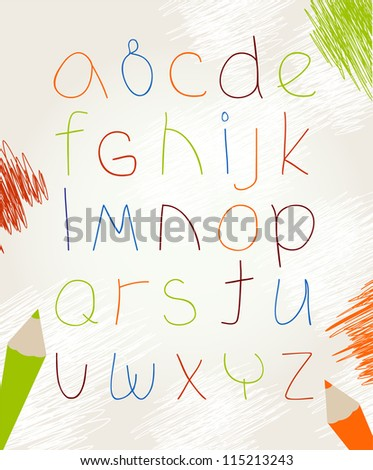 The alphabet drawn by a pencil - stock vector