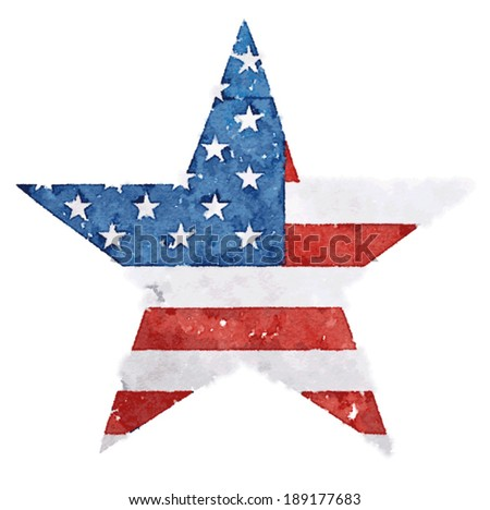 The American flag print as star shaped symbol / men's t-shirt illustration / t-shirt graphics - stock vector