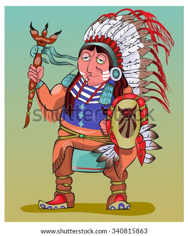 The American Indian in beautiful national clothes.Vector - stock vector