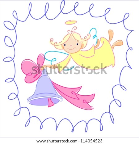 The angel wants to congratulate somebody on a holiday - stock vector