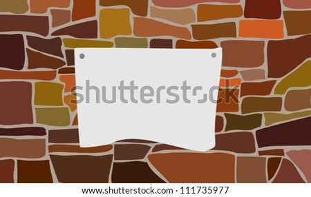 The announcement on a brick wall - stock vector