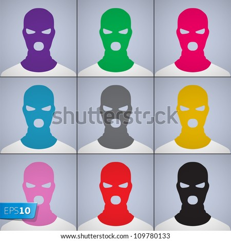 The anonymous author of avatars in a cap-mask, vector Eps10 illustration. - stock vector