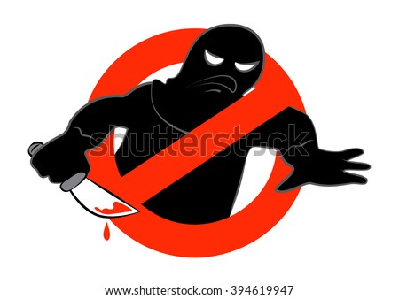 The anti-terrorist campaign icon. Vector illustration of stop terrorism background concept, isolated on a white background. EPS 10. - stock vector