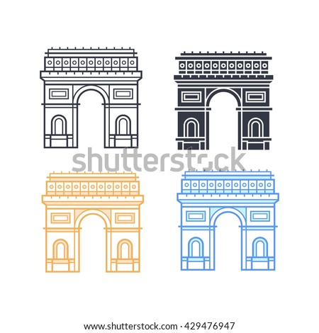 The Arc de Triomphe icons. Triumphal arch in four different styles. Symbol of Paris. Vector illustration - stock vector