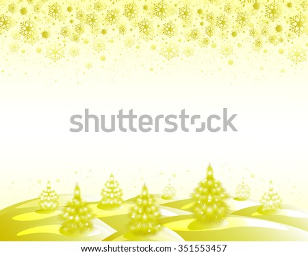 The background: golden landscape with Christmas trees and snowflakes. EPS10 vector illustration. - stock vector