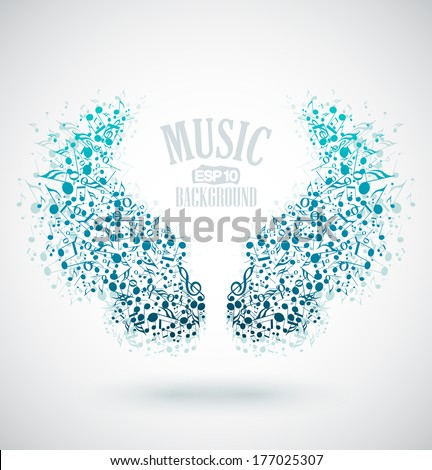 The background of musical notes in the shape of wings - stock vector