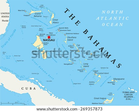 The Bahamas Political Map with capital Nassau, important cities and places. English labeling and scaling. Illustration. - stock vector