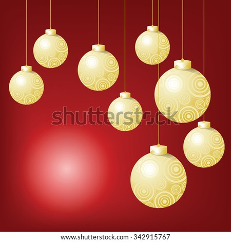 The balls event have a spherical pattern Hanging ornaments on the Christmas and New Year festival. And blank space for some word. - stock vector