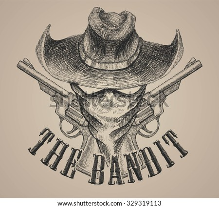 the bandit and revolver gun doodle vector art for print tees or poster and background - stock vector