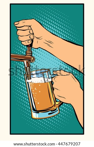 The bartender pours a glass of beer pop art retro vector. Pub and draught alcohol - stock vector