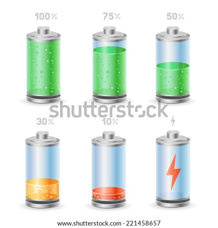 The battery icon set on the white background - stock vector