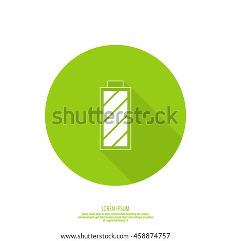 The battery icon with a full charge. charging the battery. Abstract background with rechargeable battery. web button. full charge - stock vector