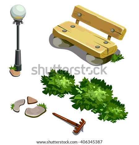 The beautification of the Park. Bench and street lamp. Vector illustration. - stock vector